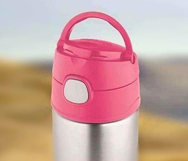 Kubek dla dzieci ze słomką Thermos FUNtainer 355 ml stalowy/różowy motyw motyl