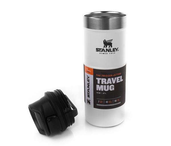 Kubek termiczny Stanley 470 ml TRIGGER ACTION TRAVEL MUG biały