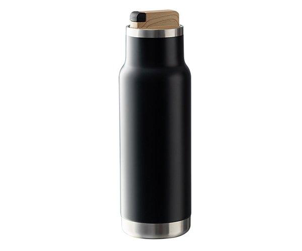 Butelka termiczna CITY 530 ml z drewnianym korkiem czarny