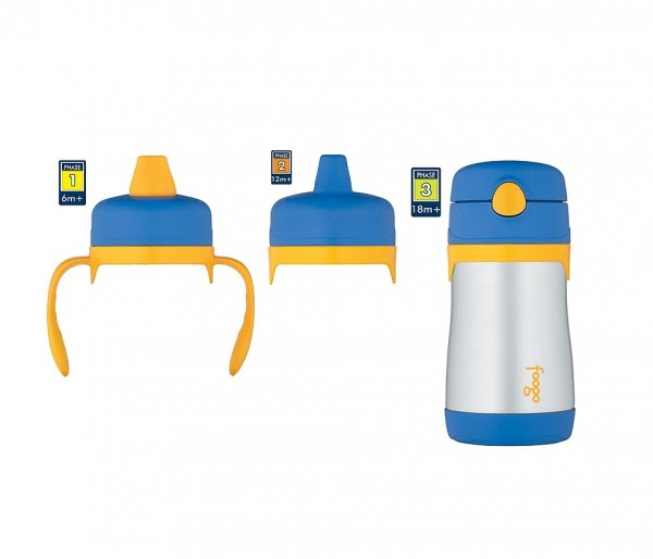 Termosik niemowlęcy Foogo z dodatkowymi ustnikami 290 ml niebieski