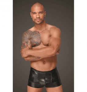 H054 Powerwetlook men's shorts with decorative PVC pleats XL