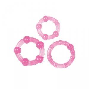 Kit di 3 anelli fallici Timeless Stud (rosa)