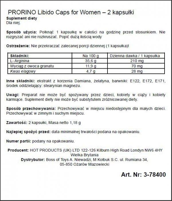 Supl.diety-PRORINO Women- 2pcs black line Libido Caps