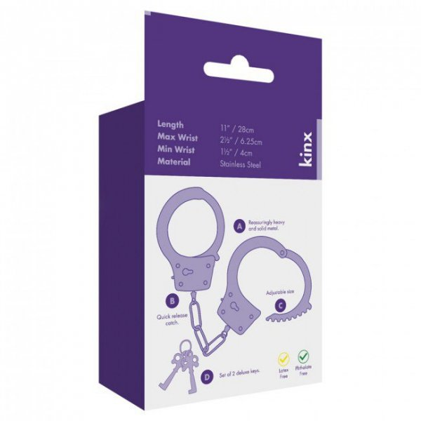 Kajdanki-Metal Handcuffs with 2 Deluxe Keys Was