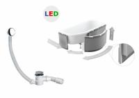 Zabudowa obudowa styropianowa do wanien półokrągłych LED + syfon czyszczony od góry