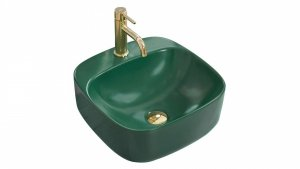 Umywalka ceramiczna nablatowa Luiza Green MAT 42x42  REA-U4561
