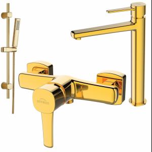Bateria natryskowa/umywalkowa wysoka Invena GLAMOUR gold z zestawem prysznicowym na drążku BN-02-009