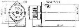 Podstawka GZC9-F-A-55 9pin NOVAL z ekranem, do chassis ceramiczna