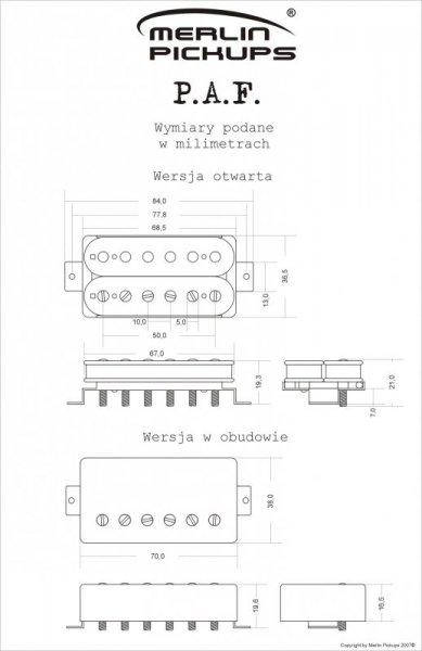 Przetwornik MERLIN P.A.F. pickup ,przystawka, NECK