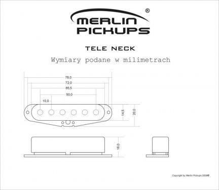 Przetwornik MERLIN TELE, pickup ,przystawka, NECK