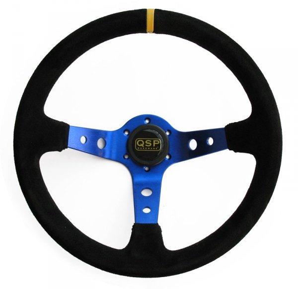 Kierownica zamszowa 3 ramienna QSP 90 niebieska