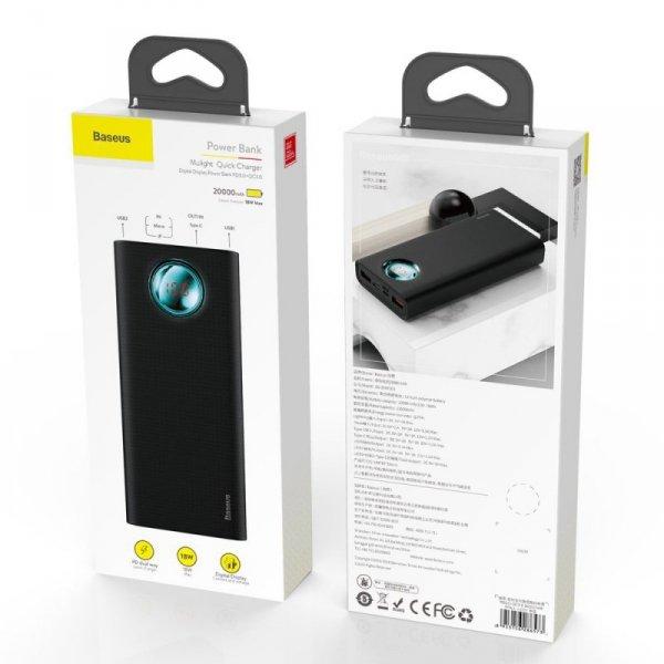 Baseus Amblight power bank 20000 mAh z wyświetlaczem LCD Power Delivery PD3.0 Quick Charge QC3.0 18W czarny (PPALL-LG01)