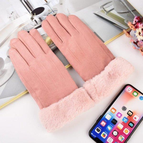 Uniwersalne rękawiczki na zimę do ekranów dotykowych jasnoróżowy