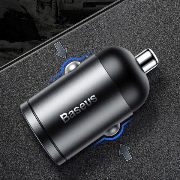 Baseus Tiny Star PPS mini ładowarka samochodowa USB Typ C 30W Quick Charge 3.0 PD 3.0 + kabel USB Typ C / Lightning 1m szary (TZ