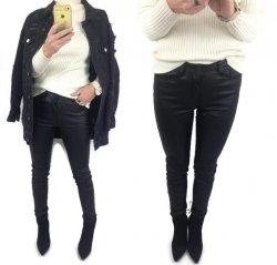 Czarne Woskowane Spodnie Rurki