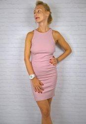 Włoska Sukienka Odkryte Plecy Pink
