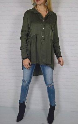 Asymetryczna Włoska Bluzka Khaki