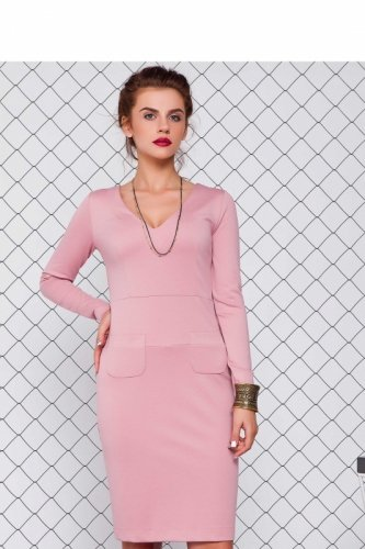 Sukienka z dżerseju GR1075 Karmazynowy