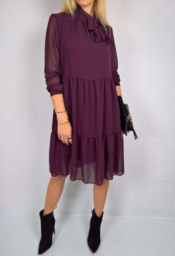 Rewelacyjna Sukienka Wiązanie Kokarda Śliwka