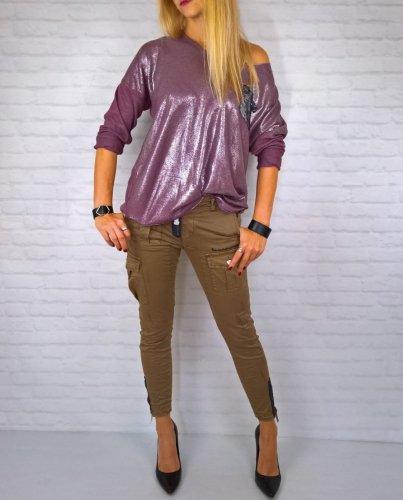Włoska Bluzka Fiolet Oversize