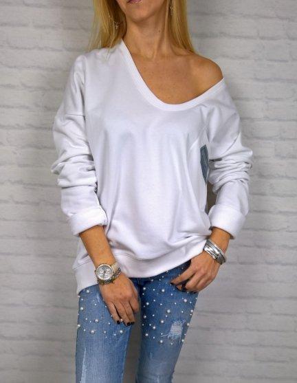 Biała Bluza Dekolt Oversize