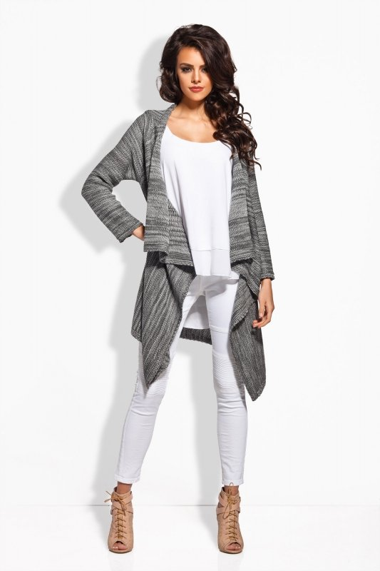 Sweter Damski Model LS161 Grafit/Light Grey