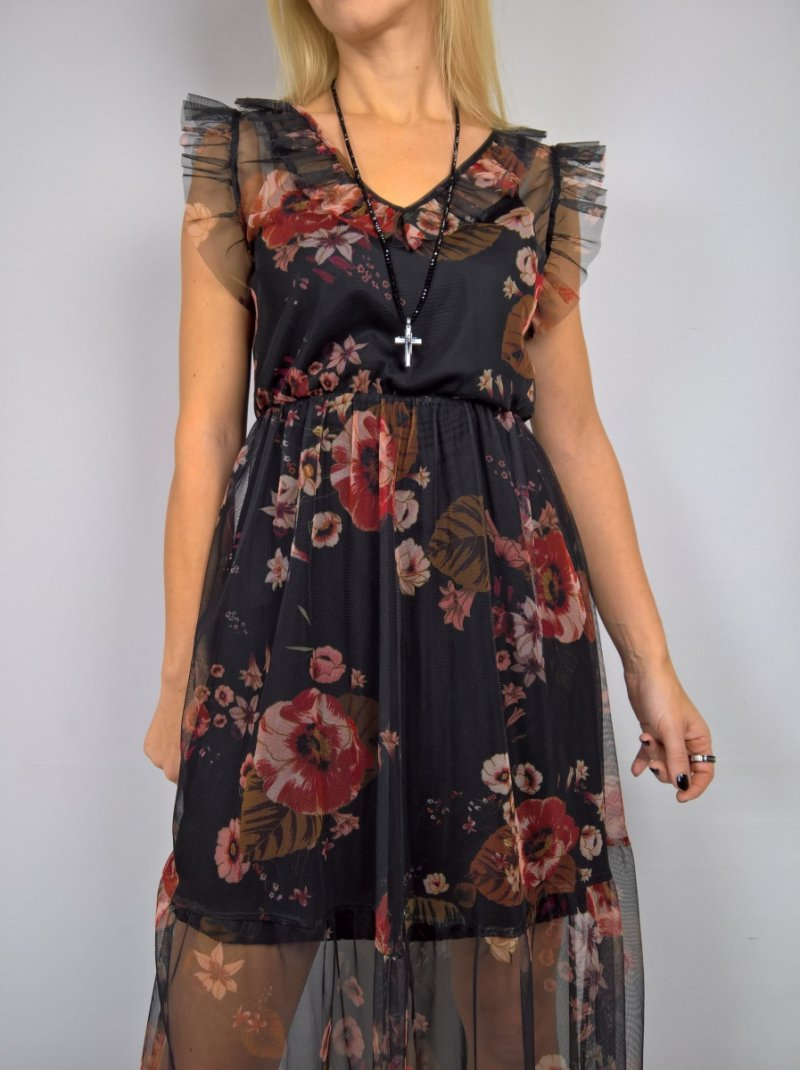 Włoska Sukienka Siatka Tiul