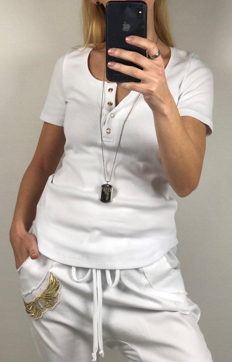 Biały T-shirt Prążek By o la la