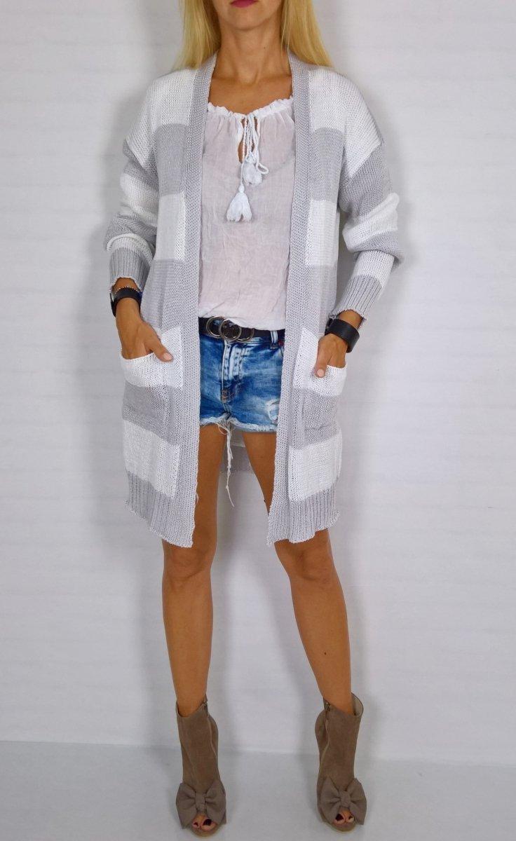 Włoski Sweter Narzutka Grey