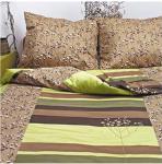 Ekskluzywna pościel satynowa Andropol 160x200 cm 100% bawełna wz. 17716. Brązowa - Zielona w Kwiaty pościel 160x200