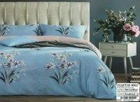 Pościel Collection World 160x200 Niebieska - Beżowa w Kwiaty. Szara pościel 160x200