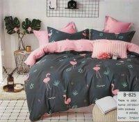 Pościel Mengtianzi 140x200 Grafitowa - Różowa we Flamingi 100% bawełna wz B-825