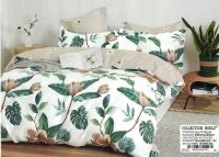Pościel Collection World 200x220 Kremowa - Beżowa w Liśćie 100% bawełna wz 1423