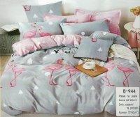 Pościel Mengtianzi 160x200 Szara - Różowa we Flamingi 100% bawełna wz B-944
