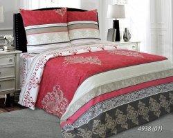 Pościel bawełniana 200x220 Czerwona - Żakardowa Luxury 100% bawełna. Czerwona pościel 200x220