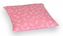 Poduszka z pierza dartego 40x40 cm Różowa w białe piórka. Poduszka pióra darte Polpuch