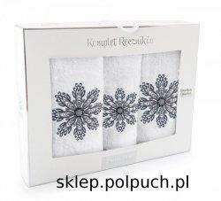Komplet ręczników Zwoltex ROZETA Biały - 3szt. 30x50 cm + 50x60cm + 70x130cm.