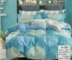 Pościel Mengtianzi Niebieska w Koła 200x220 cm 100% bawełna B-755