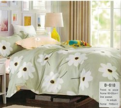 Pościel Mengtianzi Oliwkowa w Kwiaty 160x200 100% bawełna B-618