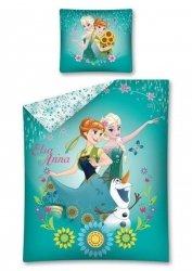 Pościel Kraina Lodu Zielona dla dziewczynki Anna i Stella 160x200 cm Detexpol 100% bawełna Frozen