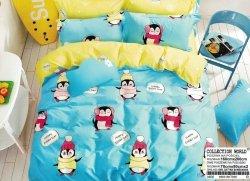 Pościel Collection World 160x200 dla dzieci - Niebieska - Żółta z Pingwinami - 100% bawełna wz 938