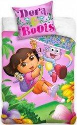 Różowa pościel dla dziewczynki Dora 160x200 Carbotex 100% bawełna DOR 16