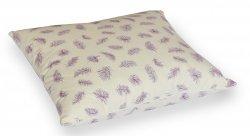Poduszka z pierza dartego 40x40 cm Ecru w fioletowe piórka. Poduszka pióra darte Polpuch
