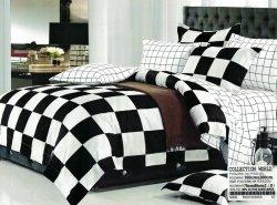 Pościel Collection World 160x200 Biało - Czarna w Kratkę 100% bawełna wz 409
