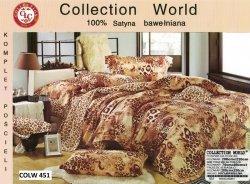 Pościel Collection World 200x220 z prześcieradłem 200x230 Brązowa Panterka 100% bawełna wz 451
