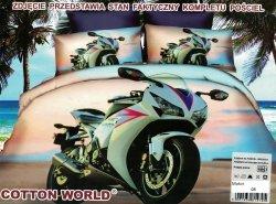 Pościel 3D Motor Ścigacz Biały Cotton World 100% mikrowłókno wz. Motor 08