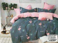 Pościel Collection World 200x220 Grafitowa - Różowa we Flamingi 100% bawełna wz 1148. Pościel 200x220 Flamingi