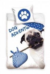 Pościel Pies Mops 160x200 Carbotex 100% bawełna Biało - Niebieska wz DOG173001