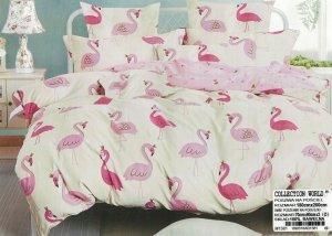 Pościel Collection World 180x200 Ecru  we Flamingi 100% bawełna wz 1381