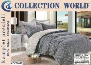 Pościel Collection World 160x200 Szara - Grafitowa 100% bawełna wz 690